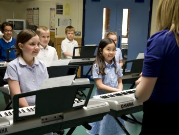 Children learning keyboard